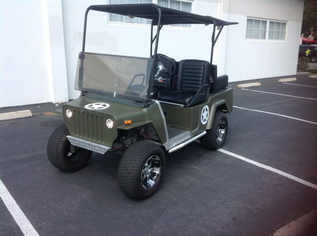 Club Car Golf Cart Willys Jeep Custom 48v 48 volt Green army Style 12″alloy rim