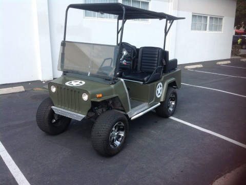 Club Car Golf Cart Willys Jeep Custom 48v 48 volt Green army Style 12″alloy rim for sale