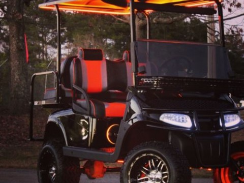EZ GO Bulldog Carts – RXV 48 Volt  Golf Cart—Black/Orange for sale