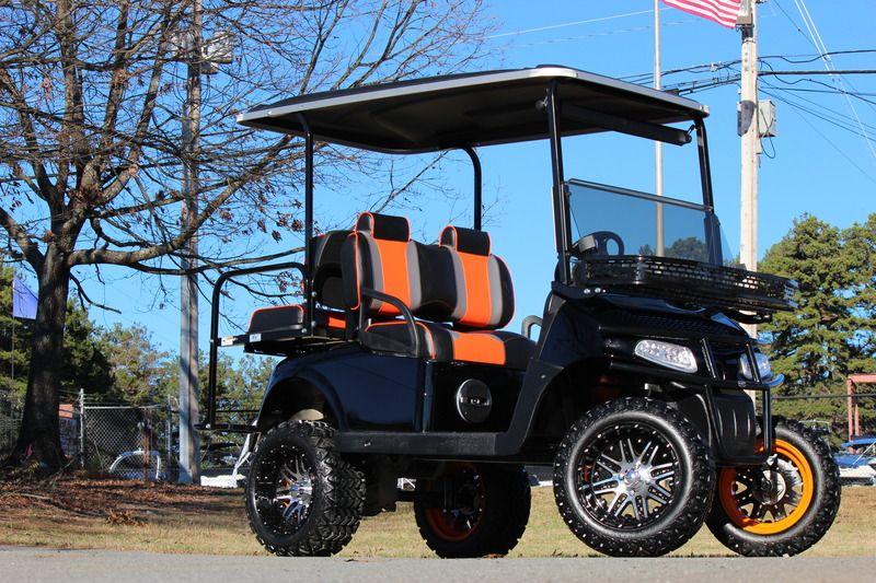 EZ GO Bulldog Carts – RXV 48 Volt  Golf Cart—Black/Orange