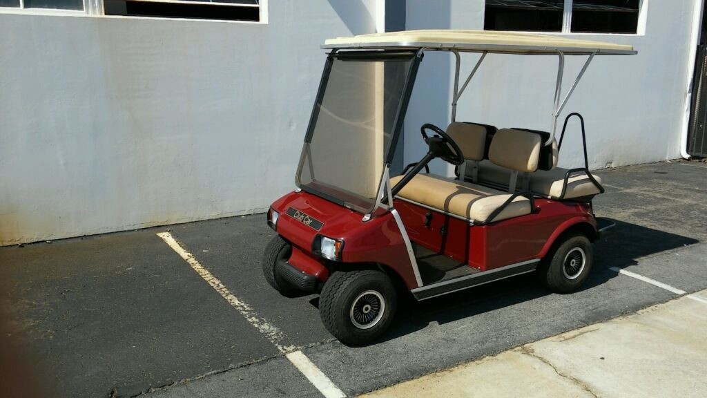 Club Car Ds Burgundy Passenger Seat Extended Roof Lights Golf Cart For Sale X