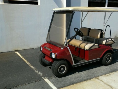 Club Car DS Burgundy 4 Passenger Seat Extended Roof Lights Golf Cart for sale