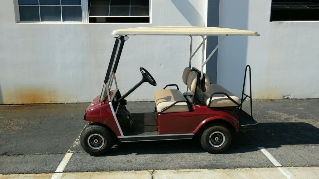 Club Car Ds Burgundy 4 Passenger Seat Extended Roof Lights