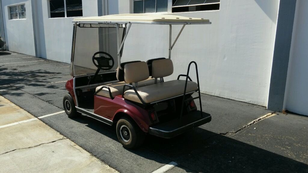 Club Car DS Burgundy 4 Passenger Seat Extended Roof Lights Golf Cart