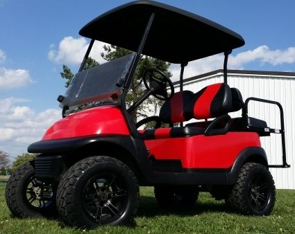 48V Red Lifted Electric Golf Cart Club Car Precedent for sale