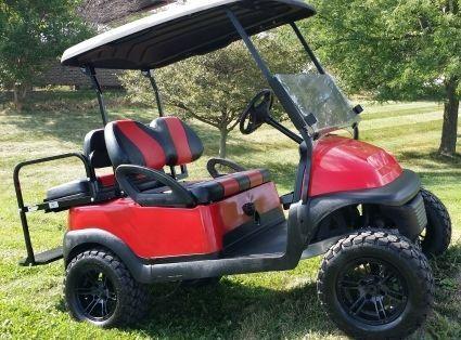 48V Red Lifted Electric Golf Cart Club Car Precedent