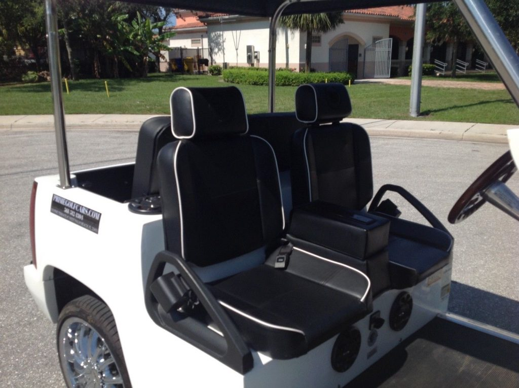 fast 2015 White ACG Cadillac Escalade golf cart